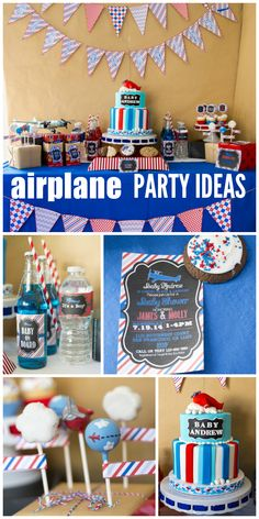 A red, white and blue airplane themed baby shower with an incredible cake, decorations and dessert table!  See more party ideas at CatchMyParty.com!