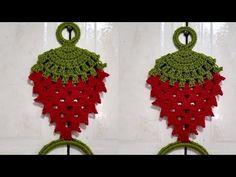 Granny Square Crochet Pattern, Crochet Patterns, Crochet Gifts, Knit Crochet, Crochet Towel Topper, Crochet Strawberry, Towel Hanger, Tea Towels, Crochet Earrings
