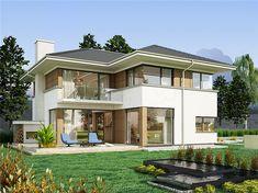 Projekt domu piętrowego AJR 21 o pow. 180,7 m2 z obszernym garażem, z dachem wielospadowym, z tarasem, sprawdź!