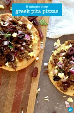 Make a quick dinner for under $20 with these mini pita pizzas topped with lamb, mint, kalamata olives and cumin.