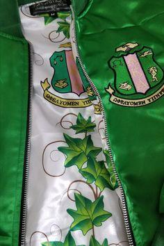 Custom Bomber jacket is TOO Pretty to pass up! Aka Sorority, Alpha Kappa Alpha Sorority, Sorority And Fraternity, Aka Apparel, Alpha Kappa Alpha Paraphernalia, Aka Paraphernalia, Black Fraternities, Greek Gifts, Silver Bracelets