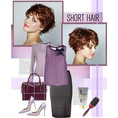 Short Hairstyle by vio8leta on Polyvore featuring moda, Soyaconcept, Les Copains, Jonathan Simkhai, Tod's, ASOS, Remington, women's clothing, women's fashion and women