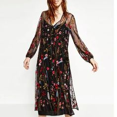 Newest 2017 Floral Embroidery Lace Dresses Party Women Mesh  Perspective Sexy robe Brand Long Dress vestido de festa Q-BBWM1616