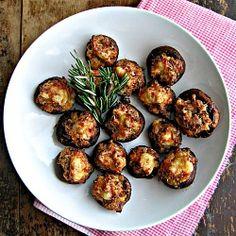 Italian Sausage and Asiago Cheese Stuffed Mushrooms with Balsamic Glaze