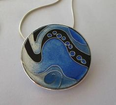 Blue Abstract Enamel Pendant by Tracey Minster