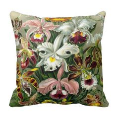 Shop Vintage 1865 Botanical Orchids Illustration Throw Pillow created by ArtStudioPillows. Custom Throw Pillow, Printed Cushions, Floral Prints Pattern, Creative Home Decor, Tropical Pillows, Pillow Art, Pillows, Natural Throw Pillows, Flower Pillow