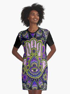 'Sacred Mandala Tapestry Graphic T-Shirt Dress by ColorTime Dress Robes, I Dress, Peplum Dress, Shirt Dress, T Shirt, Cute Casual Outfits, Chic Outfits, Purple And Black Dress, Fashion Face Mask