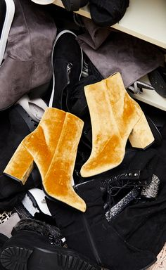 Be bold in gold! We're in love with these velvet heeled boots. #NewLook