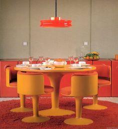 Verner Panton, fiberglass dining table and chairs. Secret Design Studio knows mid century modern architecture. Vintage Design, Retro Design, Vintage Decor, Funky Decor, Vintage Room, Vintage Ideas, Retro Interior Design, Modern Interior, Cafe Interior