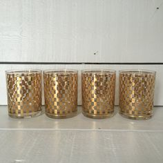 Stunning set of four #vintage cocktail glasses with a lavish gold checkered pattern motif.  This is a rare set of glasses.  I was only able to find them on one other site wh... #etsy #gifts ➡️ http://www.vivaterravintage.com/listing/482736355/vintage-barware-cocktail-old-fashioned?utm_source=sellertools&utm_campaign=app&utm_medium=api