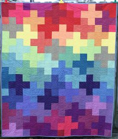 Rainbow Plus Quilt, made with Oakshott cottons, by Becca Bryan | bryanhousequilts