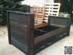 Toddler bed made from old pallets                                                                                                                                                                                 More