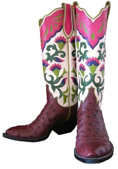 Custom full quill ostrich cowgirl boots