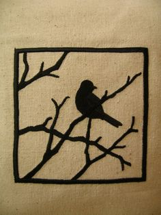 Black Bird On A Branch Silhouette Embroidery Pillow Cover by etsy seller TwoStrayCats (Innisfail, Alberta, Canada) $SOLD