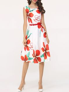 Basic Floral Printed Skater Dress