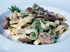 Spinach & Egg Fettuccini with Wild Mushrooms & Pancetta (Straw & Hay)