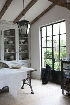 Modern Country Style: Jill Brinson's Modern Country Interior: House Tour Click through for details. Black French Doors, Black Doors, Steel Doors And Windows, Metal Doors, Iron Windows, Modern Country Style, French Country, Country Interior, Interior Decorating