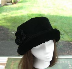 Hey, I found this really awesome Etsy listing at https://www.etsy.com/listing/90777614/rich-black-velvet-hat-with-velvet-rose
