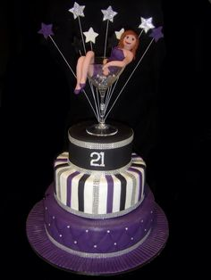 Bling Martini Glass 21st Birthday Cake - Girl made from fondant and placed in a Martini Glass