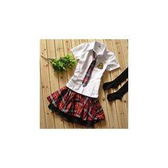 School Uniform Cosplay Costume (23 CAD) ❤ liked on Polyvore featuring costumes, innerwear, women, schoolgirl costume, ladies costumes, colorful halloween costumes, colorful costumes and womens halloween costumes