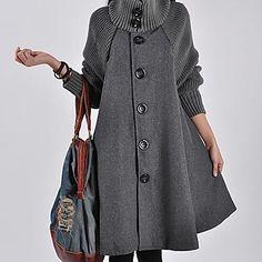 capa de paño de lana gabardina polvo de las mujeres sanfenzise (botón de color al azar) - USD $ 36.59