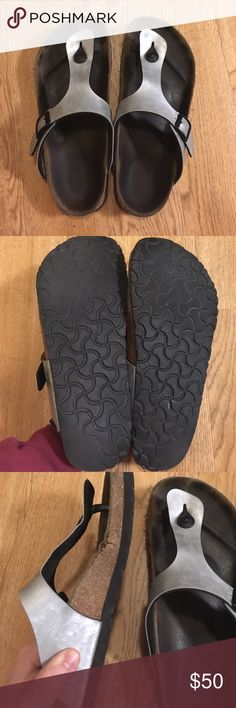Birkenstock silver Gizeh size 8 38 Well loved and broken in with tons of life left in them! Super comfortable, see pics for wear Birkenstock Shoes Sandals