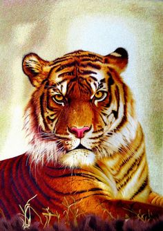Fearless Bengal Tiger #Handmade #Silk #Embroidery #Art 74018 http://www.queensilkart.com/100-handmade-embroidery-framed-wildlife-animal-staring-tiger-74018/ In Feng Shui, tigers are very protective and attract the energy of secure love. A powerful love charm for a marriage corner. Decorating with tigers is a fantastic way to express masculine energy. Yang energy relates to the sun, and this tiger image will lighten any area.