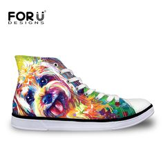 FORUDESIGNS Yorkshire Terrier Dog Painting Women Casual Shoes for Teenage Girls Lace-Up Flats Ladies Walking Shoes High-top Shoe