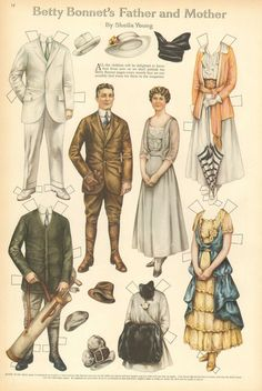 Paper Dolls, Betty Bonnet's Father & Mother, Golf, Vintage 1916 Antique Print. in Art, Art from Dealers & Resellers, Prints | eBay