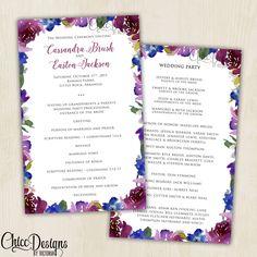 Radiant Elegant Watercolor Wedding Program - Magenta, Purple, Navy Blue - Classical Wedding Program (5x8) - Digital/Printable Design by ChiccDesigns on Etsy
