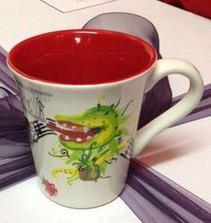 'Encore'- commissioned mug for the director of a Musicals themed variety show.  A Chorus Line, Chicago, Little Shop of Horrors, Spamalot, The Lion King, The Phantom of The Opera, The Rocky Horror Show A Chorus Line, Rocky Horror Show, Little Shop Of Horrors, Phantom Of The Opera, Lush, Musicals, Chicago, King, Tableware