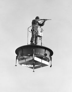 The Flying Platform. Constructed as part of an Army-Navy program in the mid-1950s to develop a one-man flying vehicle that could be controlled with minimal training.