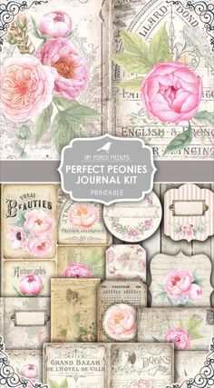 French Journal Card Shabby Chic Blank Card Victorian Girl with Pink Roses Blue Junk Journal Card Scrapbook