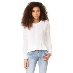 RAILS Elsa Sweater (495 BRL) ❤ liked on Polyvore featuring tops, sweaters, white, crew-neck sweaters, ribbed crew neck sweater, white ribbed sweater, ribbed sweater and long sleeve tops