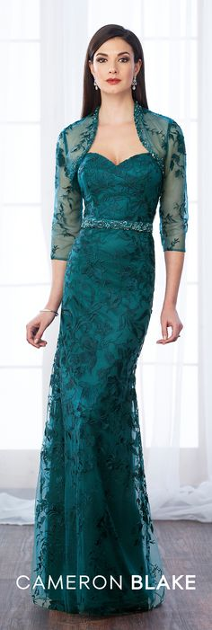 Formal Evening Gowns by Mon Cheri - Fall 2017 - Style No 217649 - teal strapless lace evening dress with illusion lace bolero jacket