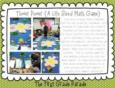 Flower Power math game - making addition and subtraction problems as a whole group. Addition And Subtraction Practice, Subtraction Games, Math Addition, Math Classroom, Kindergarten Math, Teaching Math, Maths, Fun Math Games, Math Activities