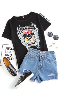 Black Printed Ripped T-shirt Size Available: S,M,L,XL Fabric: Fabric is very stretchy Season: Summer Pattern Type: Printed Sleeve Length: Short Sleeve Color: Black Material: Polyester Neckline: Round Neck Style: Casual