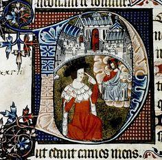 """D"". kneeling David points to his eye. English 14th cent. detail. bodl_Liturg.198"