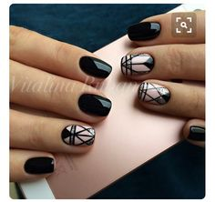 geometric stripes black nail art, black nail art design with geometric … - Nail Designs Pink Nails, My Nails, Hair And Nails, Black Nails, Jewel Nails, Black Manicure, Silver Nails, Silver Ring, Black Nail Designs