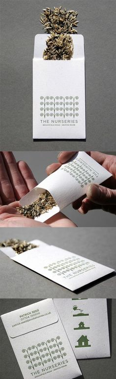 Clever Letterpress Printed Seed Packet Business Card Concept