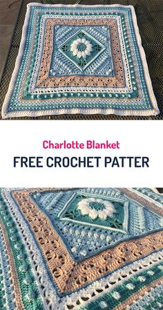 yarn,crafts-Charlotte Blanket Free Crochet Pattern crochet yarn crafts home homedecor style Crochet Square Patterns, Crochet Blocks, Crochet Squares, Crochet Blanket Patterns, Crochet Motif, Baby Blanket Crochet, Crochet Yarn, Crochet Blankets, Granny Squares