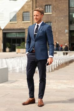 mens blue navy suit with penny loafers leather brown shoes menswear