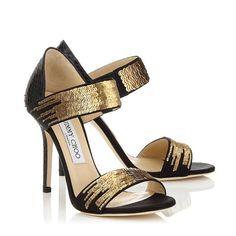 Imagen 18 Preciosas sandalias de fiesta en negro con bordado en sequin color dorado | HISPABODAS