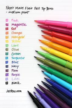 Paper Mate Flair Felt Tip Pen - Medium Point - 16 Color Set : all the pretty colors