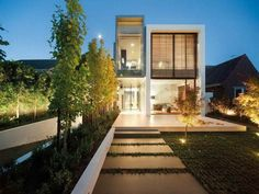 Tips for Planning Small Contemporary Home Designs: Magnificent Small Contemporary Homes Plans With The Trees In Evening Views ~ workdon.com Architecture Inspiration