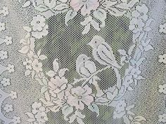 french lace lovebirds panels curtains by HatchedinFrance