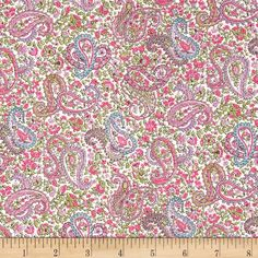 Liberty of London Tana Lawn Charles White/Pink from @fabricdotcom  From the world famous Liberty Of London, this exquisite cotton lawn fabric is finely woven, light weight and ultra soft. This gorgeous fabric is oh so perfect for flirty blouses, dresses, lingerie, tunics, tops and more. Colors include pink, hot pink, blue and green on a white background.