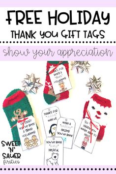 "Try saying ""thank you"" this holiday season with one of my holiday gift tags, which are perfect to give to a classroom or parent volunteer! They will LOVE receiving budget-friendly gifts with a fun, creative touch! My FREE printable gift tags come with 8 different options to choose from."