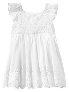 Baby Gap 2014 Paddington Eyelet Flutter Dress in White