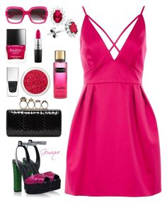 """""""Hot, Hot Pink"""" by gemique ❤ liked on Polyvore featuring Giuseppe Zanotti, Topshop, Alexander McQueen, Givenchy, Gucci, Butter London, MAC Cosmetics and Victoria's Secret"""